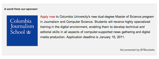 Ad for Columbia's Journalism and Computer Science Program